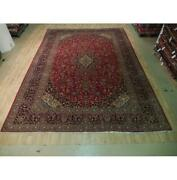 10x14 Authentic Hand Knotted Semi-antique Wool Rug Red B-73803