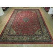 10x13 Authentic Hand Knotted Semi-antique Wool Rug Red B-73826