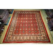 10x13 Authentic Hand Knotted Semi-antique Wool Rug Red B-74670
