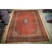 10x13 Authentic Hand Knotted Semi-antique Wool Rug Orange B-74772