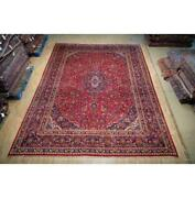 10x13 Authentic Hand Knotted Semi-antique Wool Rug Red B-74804