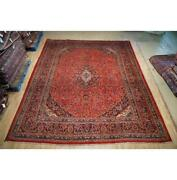 10x13 Authentic Hand Knotted Semi-antique Wool Rug Red B-74792