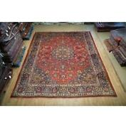 10x12 Hand Knotted Worn Semi-antique Wool Rug Red B-74806