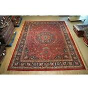 10x13 Hand Knotted Worn Semi-antique Signed Wool Rug Red B-74836