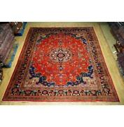 10x12 Hand Knotted Worn Repair Antique Wool Rug Red B-74672