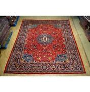 9x12 Authentic Hand Knotted Semi-antique Wool Rug Red B-74731