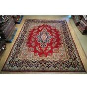 10x13 Authentic Hand Knotted Semi-antique Wool Rug Red B-74871