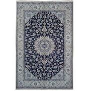 7x10 Authentic Naeen Signed Wool And Silk Rug Dark Blue Pix-22020