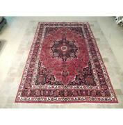 7x11 Authentic Hand Knotted Semi-antique Wool Rug Red B-74278