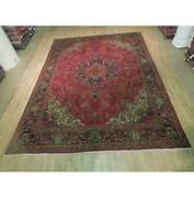 8x13 Authentic Hand Knotted Antique Worn Rug B-74403