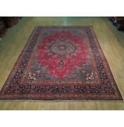 8x11 Hand Knotted Semi-antique Lilihan Wool Rug Red B-73816