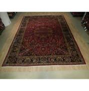 10x13 Hand Knotted Semi-antique Farahan Wool Rug Red B-73513