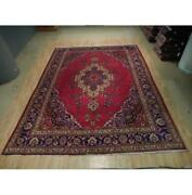 10x13 Authentic Hand Knotted Semi-antique Wool Rug Red B-73095