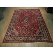 9x13 Hand Knotted Semi-antique Mahal Sultanabad Wool Rug Red B-73098
