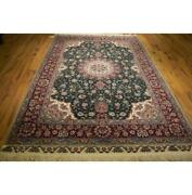 6x9 Wool And Silk Authentic Hand Knotted Rug Dark Green La-52849