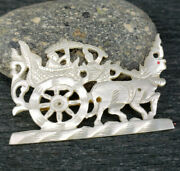 Antique Carved Mother Of Pearl Brooch Chinese Wagon Cart Man Animal