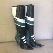 🔥 Rare Dolce And Gabbana Knee High Sexy Black White And Teal Boots 🔥 Cool Boot