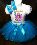 Sofia The First Shirt Name Birthday Party 2nd 2 Personalized Turq Tutu Dress