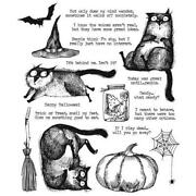 Tim Holtz Stampers Anonymous Snarky Cat Halloween Rubber Cling Stamp Set 2020