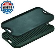 13 Pre Seasoned Cast Iron Reversible Grill Griddle Camping Home Cooking Kitchen