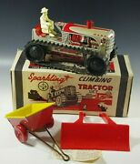 Marx 1950and039s Climbing Tractor Set Sparkling Tin Mib Windup Toy Red With Box 14