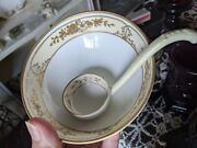 Nippon Gold Rose Mayo Bowl And Ladle 3- Footed 4 5/8 Bowl W/ 4 3/4 Ladle