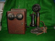 Original Pre- Dial Western Electric Candlestick Telephone And Ringer Box