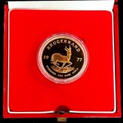 1977 Gold South Africa Proof 1 Oz Krugerrand Coin In Early S. A. Mint Box