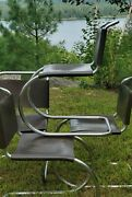 4 Knoll Mies Van Der Rohe Mr Dark Brown Leather Side Chairs