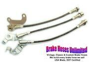 Stainless Brake Hose Set Ford Custom 500 1967 Early Disc W/o Wer Rear Axle
