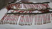 60 Antique Vintage Red Tube Beaded Gold Bell Trumpet Bead Lamp Shade Fringe