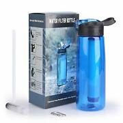 2pk Portable Water Filter Bottle With 2-stage Integrated Filter Straw-22oz/650ml