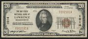 1929 20 Scarce 2nd Titlethe Bay State National Bank Of Lawrence Ma Note Vf+
