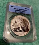 2010 S10y Silver Panda Anacs Ms-69 Chinese Coin