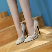Womens Pointy Toe Dress Pumps Stiletto High Heels Wedding Lace Bridal Shoes Size
