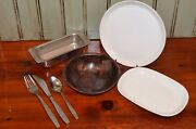 Twa Airlines Place Setting Dishes Salad Bowl Plate Flatware Knife Fork Vintage