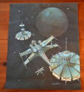 August Holland Poster Print Planet Base Station Sci-fi Space Rare Vintage
