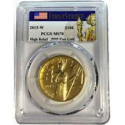 2015-w High Relief Liberty Eagle Gold Coin 100 Pcgs Ms70 Fs
