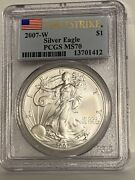 2007-w Pcgs Ms70 First Strike American Silver Eagle Uncirculated