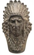 Antique Judd 5251 4.5andrdquo Gilt Iron American Indian Head Clip Or Paperweight