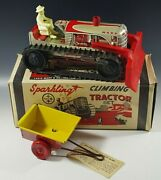 Marx 1950's Climbing Tractor Set Sparkling Tin Mib Windup Toy Red With Box 18