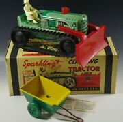 Marx 1950and039s Climbing Tractor Set Sparkling Tin Mib Windup Toy Red With Box 16