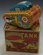 Marx 1950and039s Sparkling Tank Tin Mib Windup Toy Orange Blue Color With Box 2