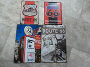 Lot Of 4 Route 66 Metal Tin Signs Mancave Garage Motorcycle Faux Distress