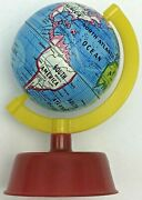 Vintage Globe Pencil Sharpener Tin Litho Made By Aandw Products Usa