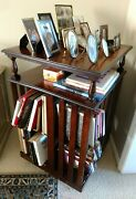 1st Of 3 Antique Revolving Bookcases W/2 Flat Shelves, Numbered Slots, Casters