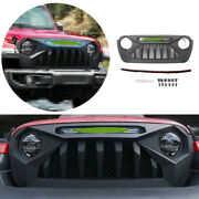 Black Abs Front Central Grille Grill Decoration For 2018-2020 Jeep Wrangler Jl