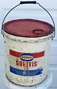 Vintage 1970 Sohio Sohivis 5 Gallon Motor Gas And Oil Grease Can Service Station