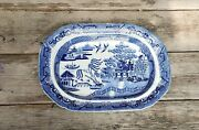 Harley And Co Platter, Willow Blue, Extremely Rare, Circa 1802