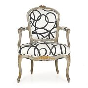 18th Century Antique French Louis Xv Period Gray Painted Arm Chair